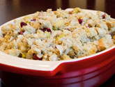 turkey stuffing in dish