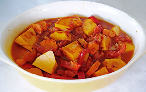 transfer vegetables to casserole dish