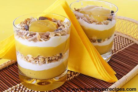 mueslie and yogurt in a glass