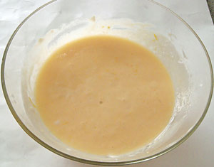 mix eggs, lemon rind and juice in a bowl